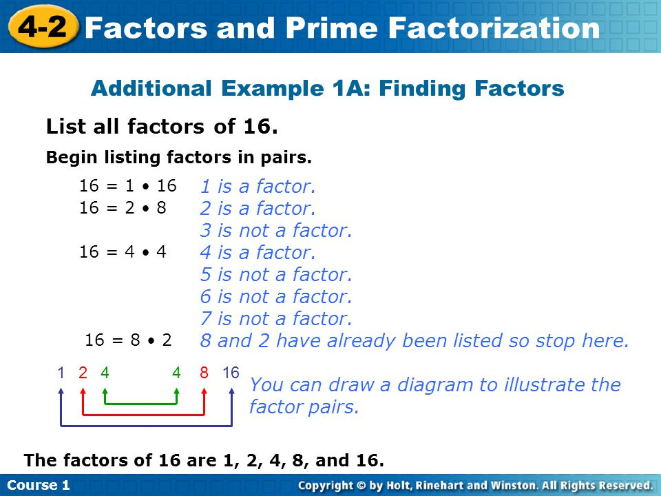 Additional Example 1A: Finding Factors