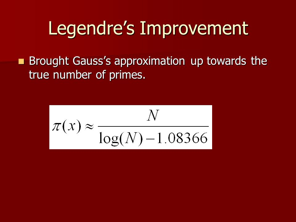 Legendre's Improvement