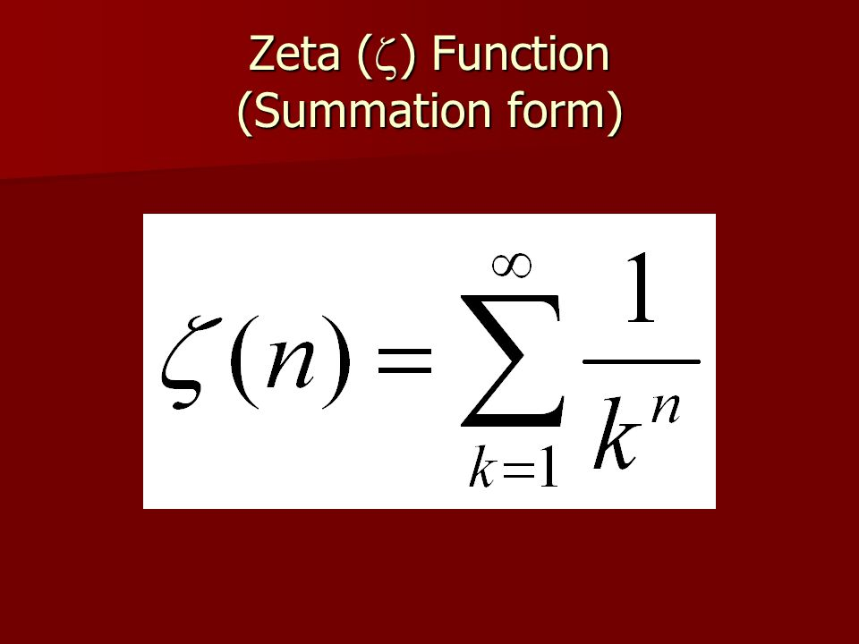 Zeta (z) Function (Summation form)
