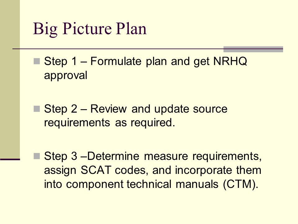 Big Picture Plan Step 1 – Formulate plan and get NRHQ approval