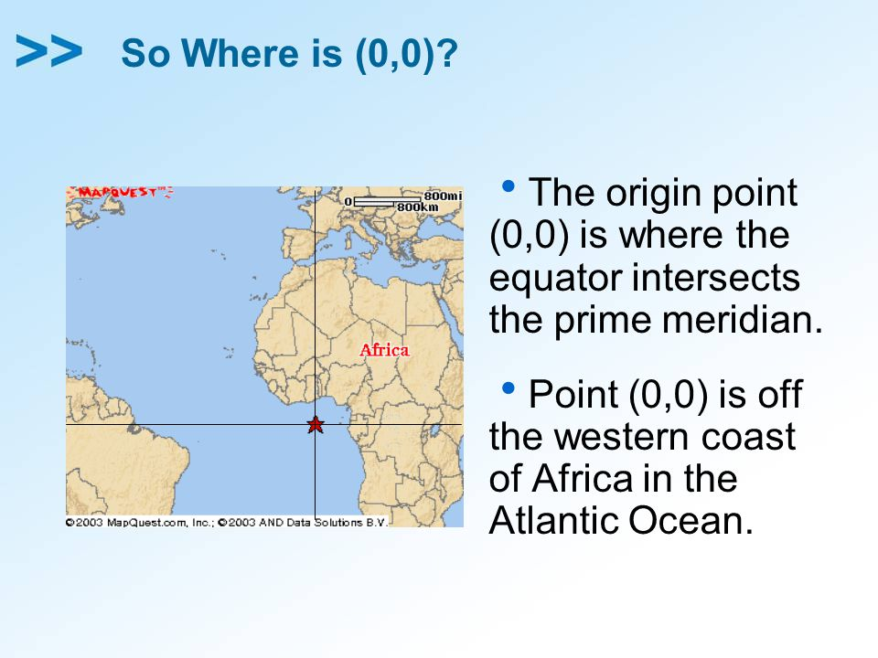 So Where is (0,0) The origin point (0,0) is where the equator intersects the prime meridian.