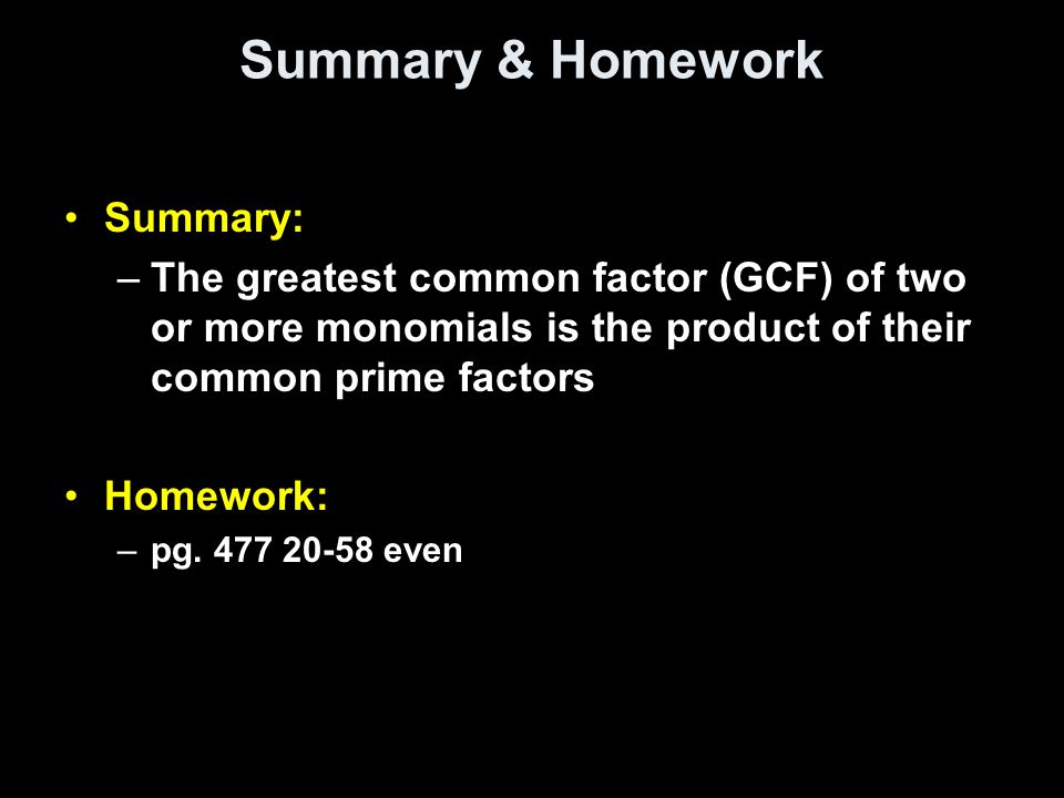 Summary & Homework Summary: