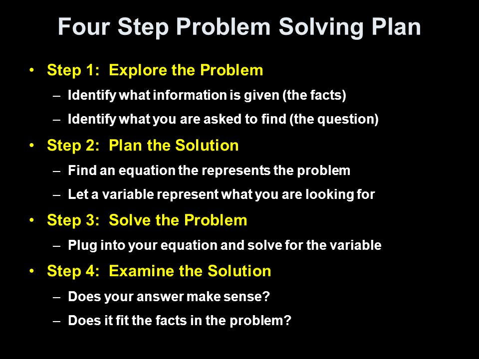 Four Step Problem Solving Plan