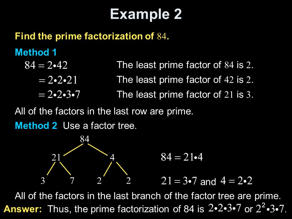 Example 2 Find the prime factorization of 84. Method 1