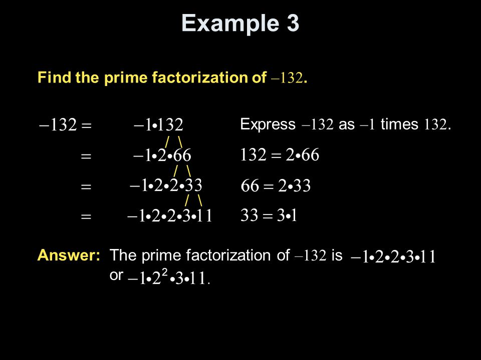 Example 3 Find the prime factorization of –132.