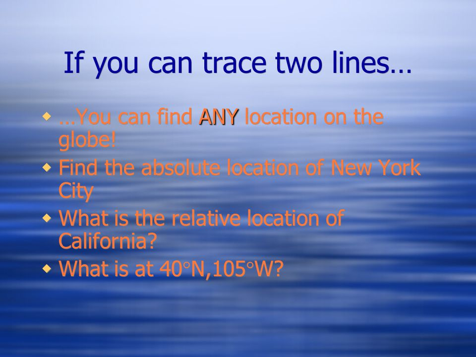 If you can trace two lines…