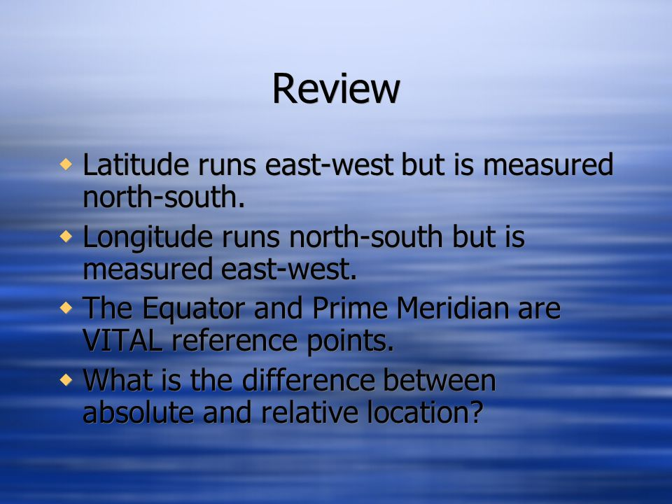 Review Latitude runs east-west but is measured north-south.