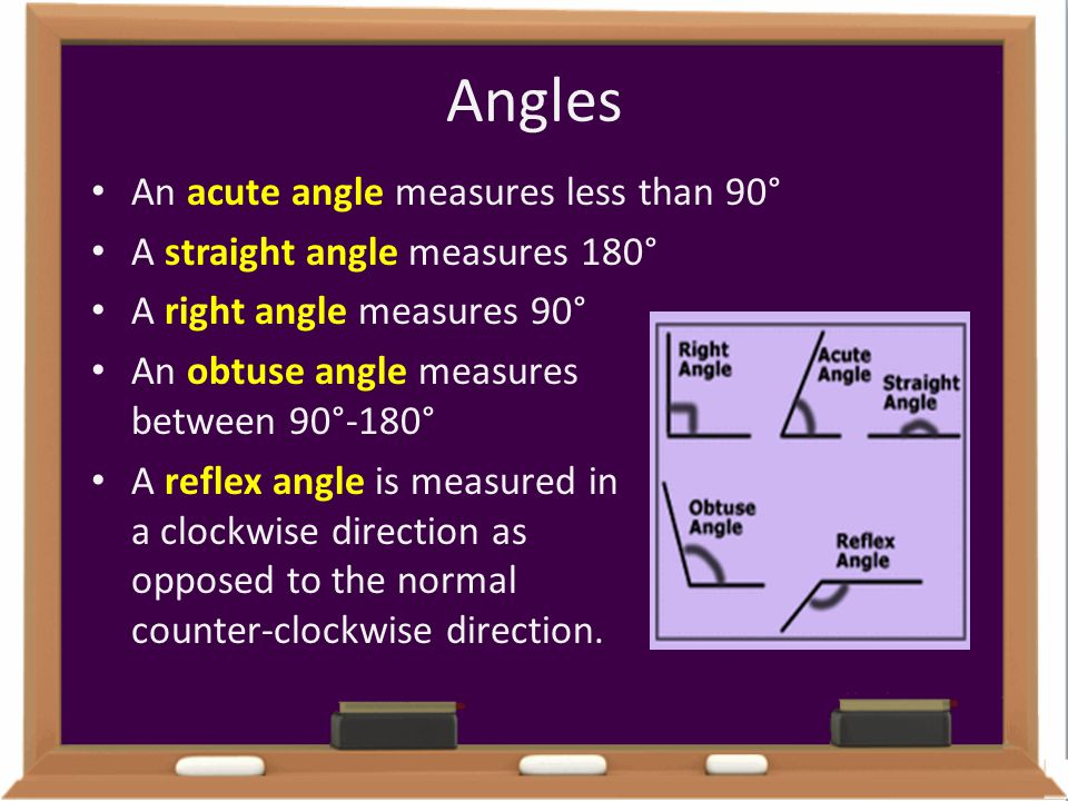 Angles An acute angle measures less than 90°