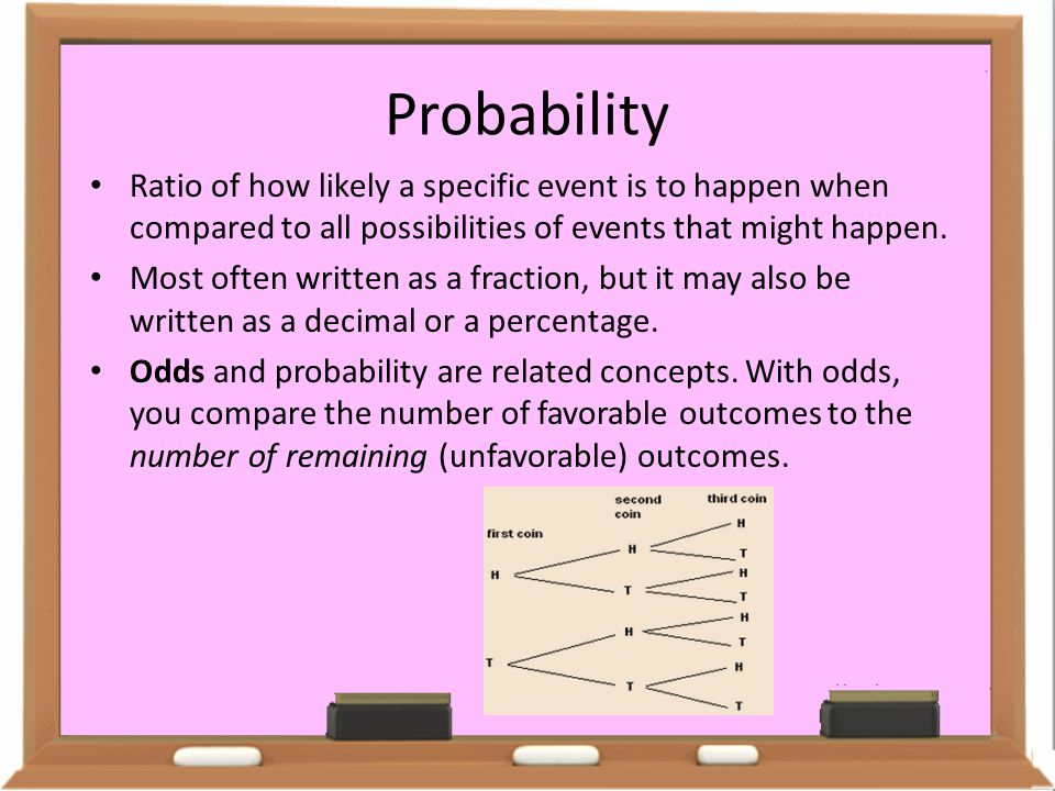 Probability Ratio of how likely a specific event is to happen when compared to all possibilities of events that might happen.