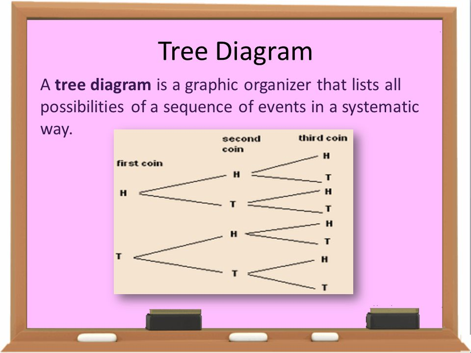 Tree Diagram A tree diagram is a graphic organizer that lists all possibilities of a sequence of events in a systematic way.