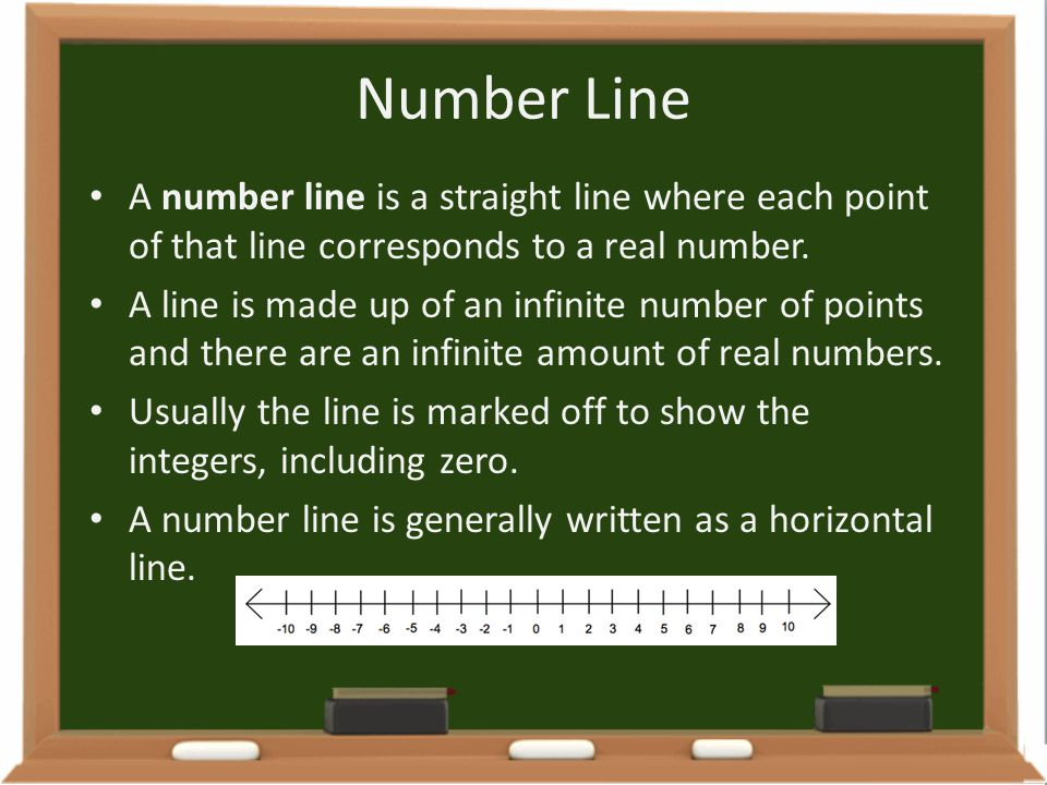 Number Line A number line is a straight line where each point of that line corresponds to a real number.
