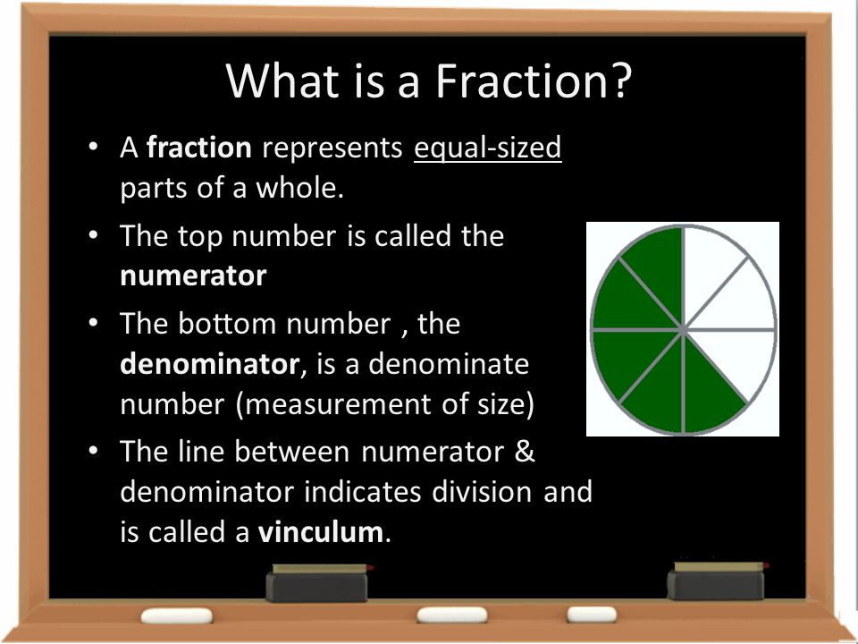 What is a Fraction A fraction represents equal-sized parts of a whole. The top number is called the numerator.