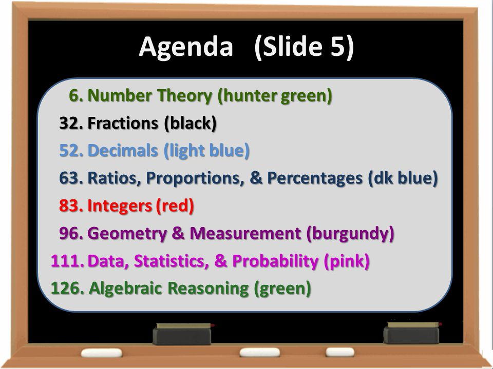 Agenda (Slide 5) Number Theory (hunter green) Fractions (black)