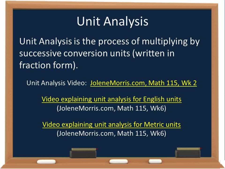 Unit Analysis Video: JoleneMorris.com, Math 115, Wk 2