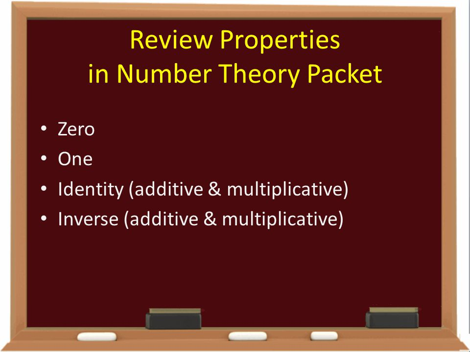 Review Properties in Number Theory Packet
