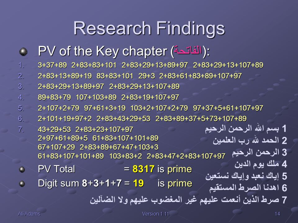 Research Findings PV of the Key chapter (الفاتحة):