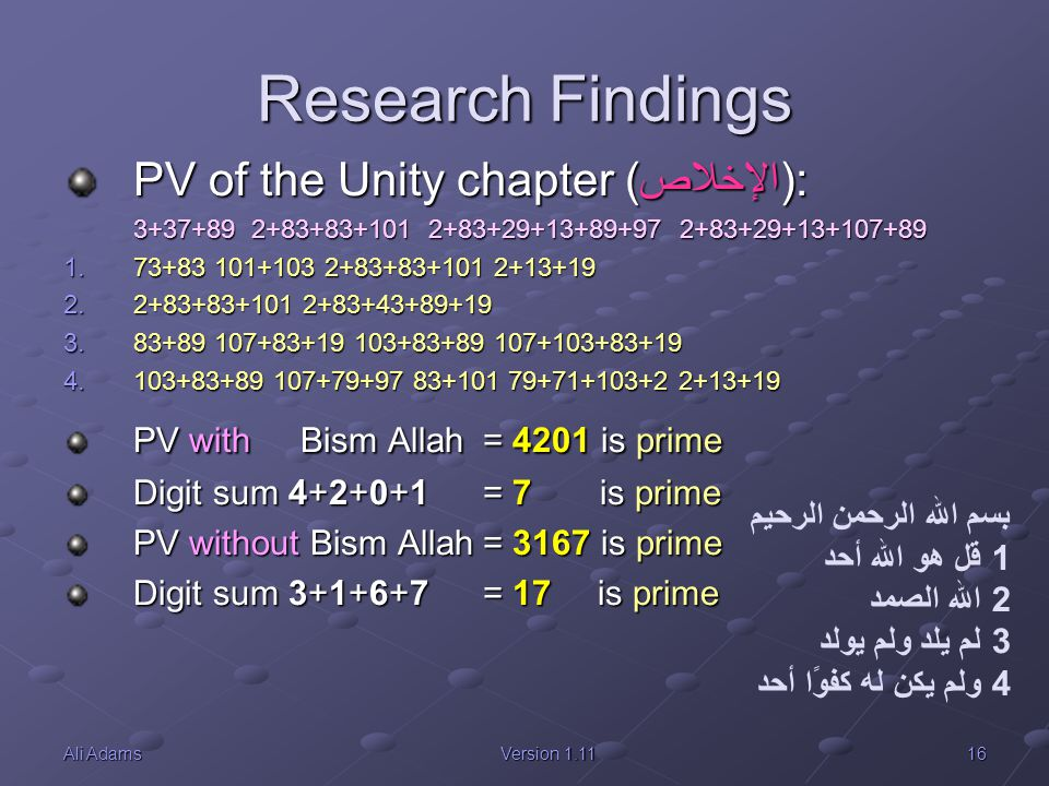 Research Findings PV of the Unity chapter (الإخلاص):