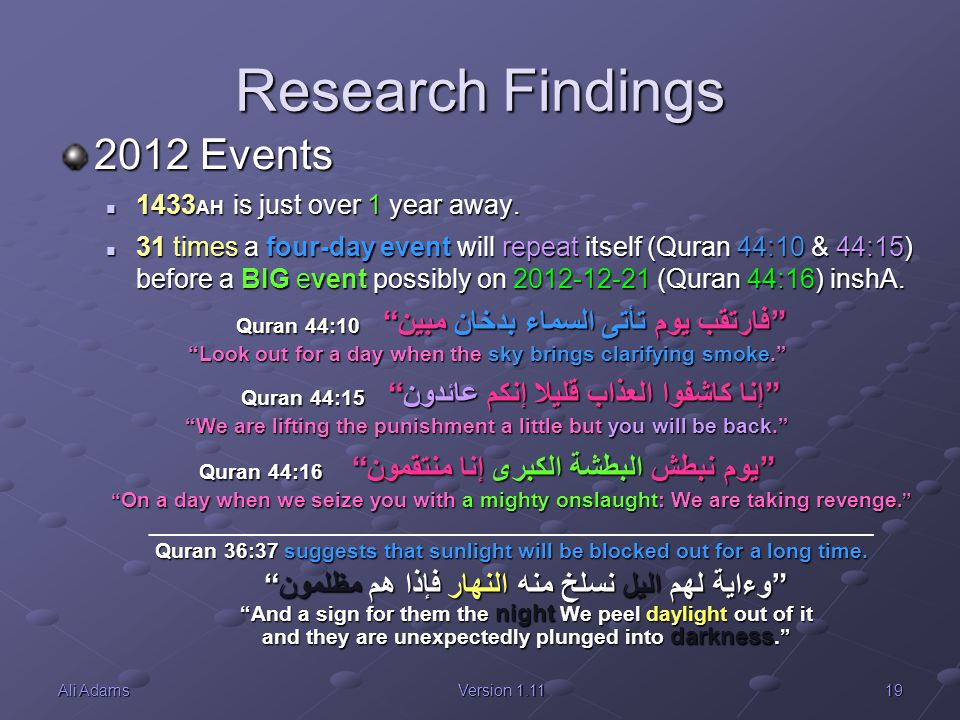 Research Findings 2012 Events 1433AH is just over 1 year away.