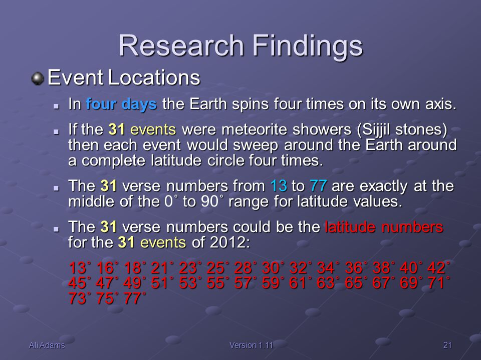 Research Findings Event Locations