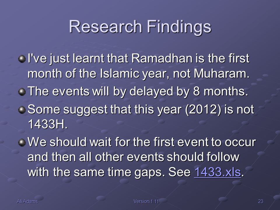 Research Findings I ve just learnt that Ramadhan is the first month of the Islamic year, not Muharam.