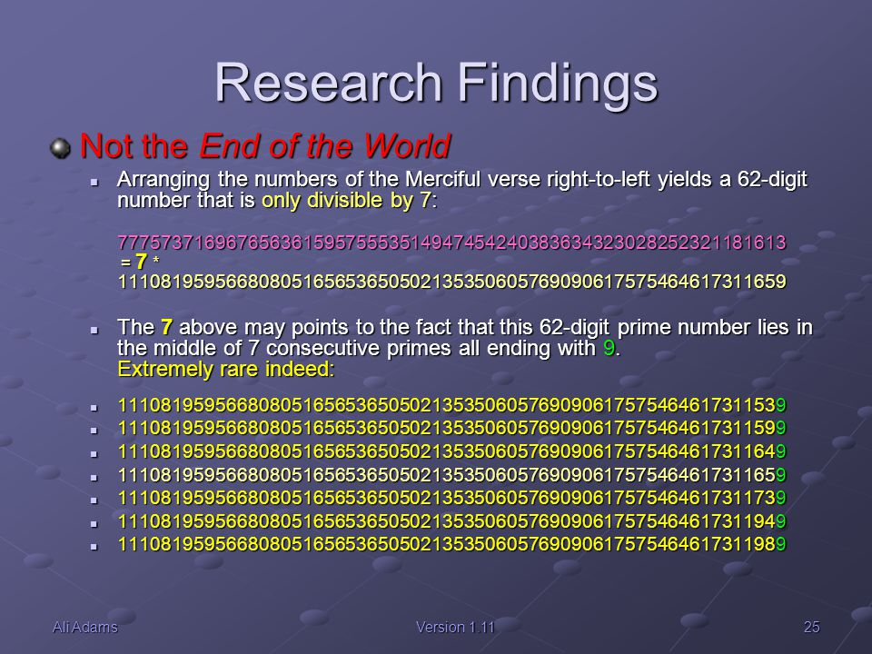 Research Findings Not the End of the World