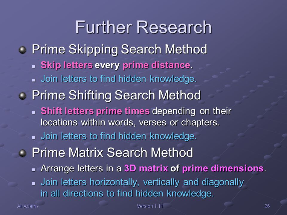 Further Research Prime Skipping Search Method