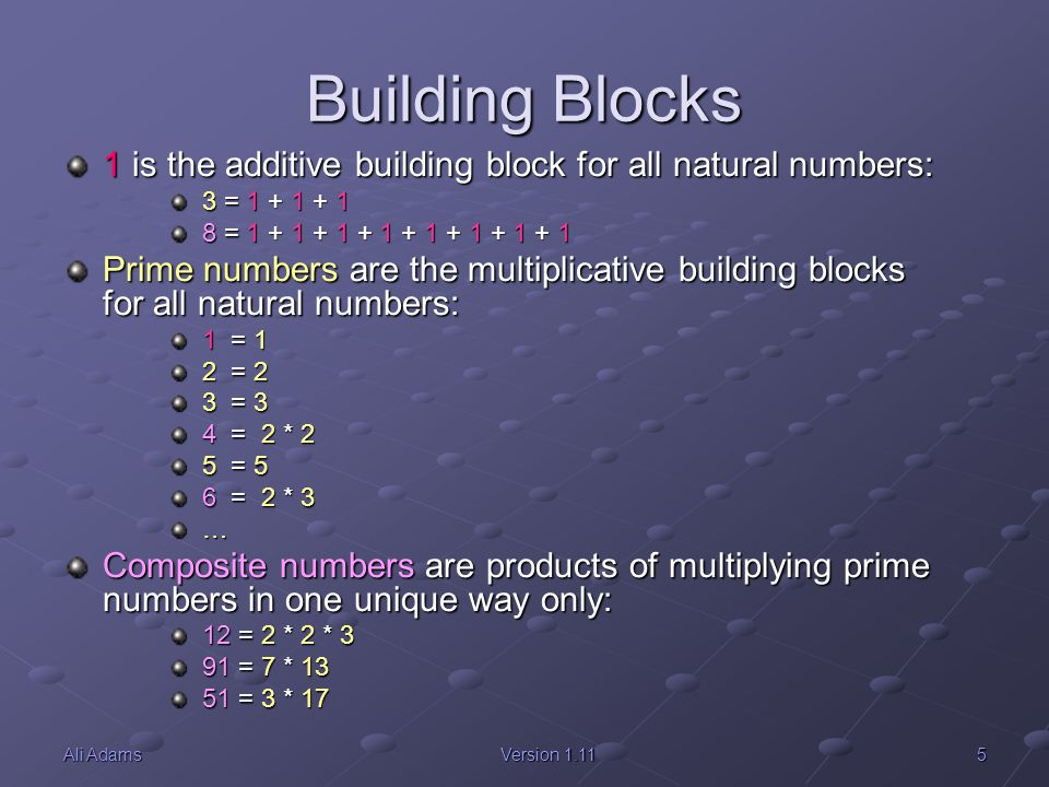 Building Blocks 1 is the additive building block for all natural numbers: 3 = 1 + 1 + 1. 8 = 1 + 1 + 1 + 1 + 1 + 1 + 1 + 1.