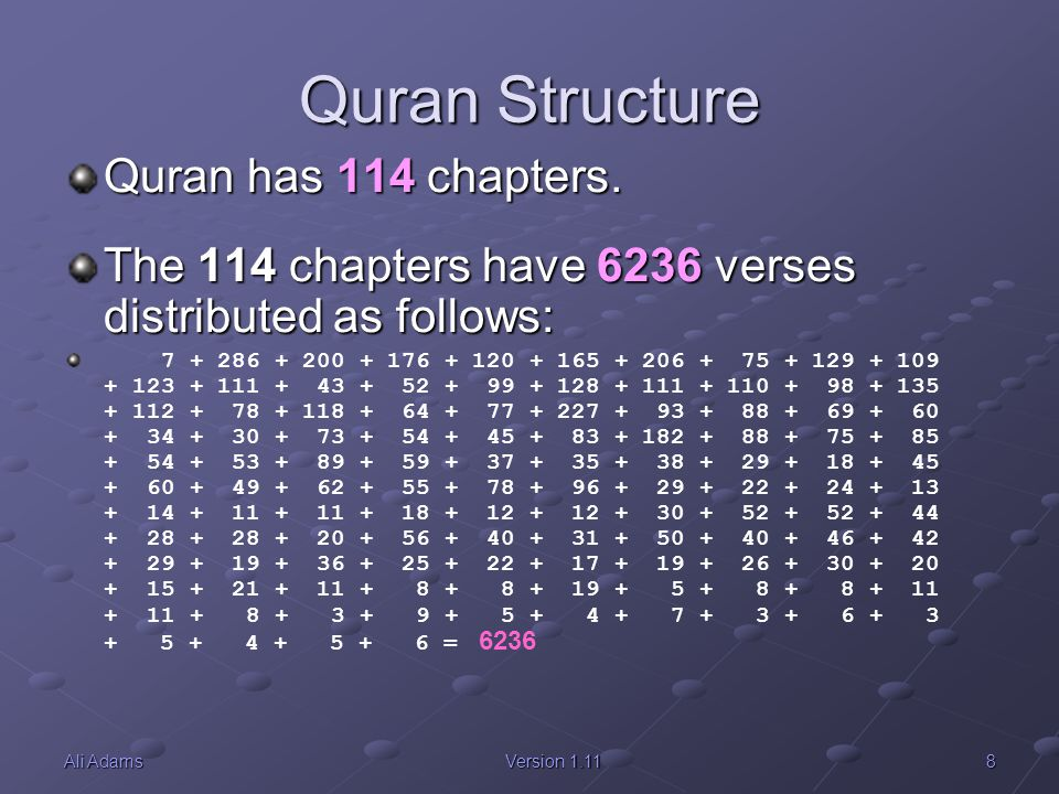 Quran Structure Quran has 114 chapters.