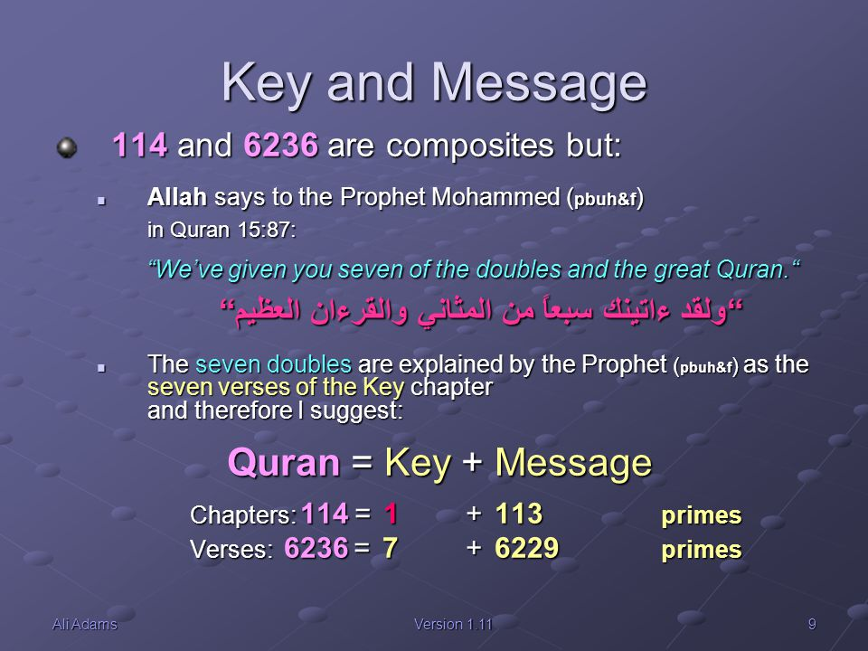 Key and Message Quran = Key + Message 114 and 6236 are composites but: