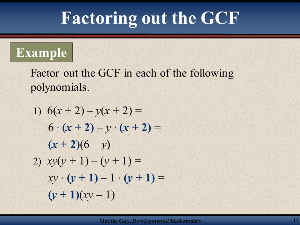 Factoring out the GCF Example