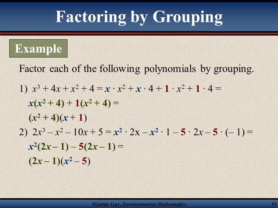 Factoring by Grouping Example