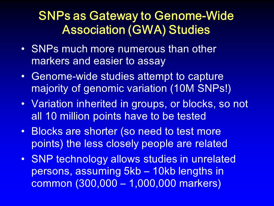 SNPs as Gateway to Genome-Wide Association (GWA) Studies