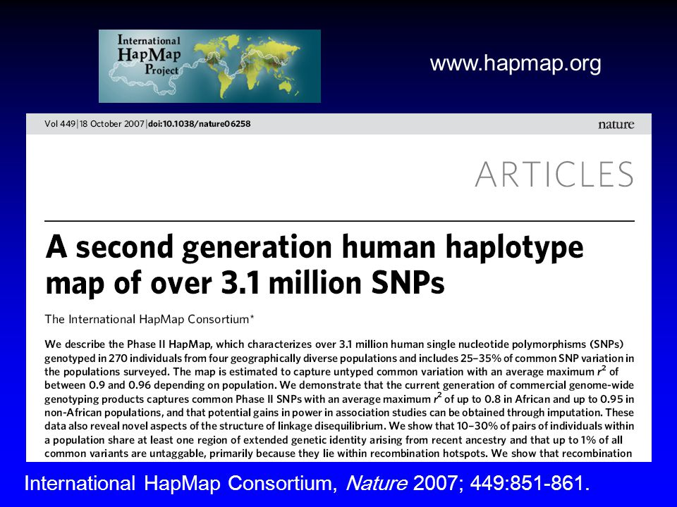 www.hapmap.org International HapMap Consortium, Nature 2007; 449:851-861.