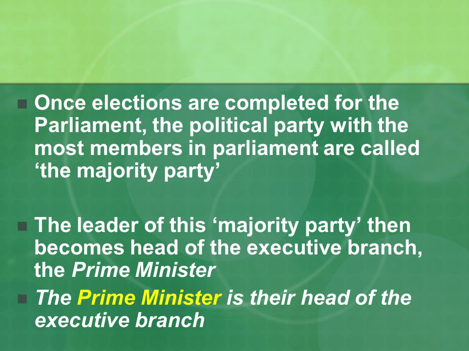 Once elections are completed for the Parliament, the political party with the most members in parliament are called 'the majority party'