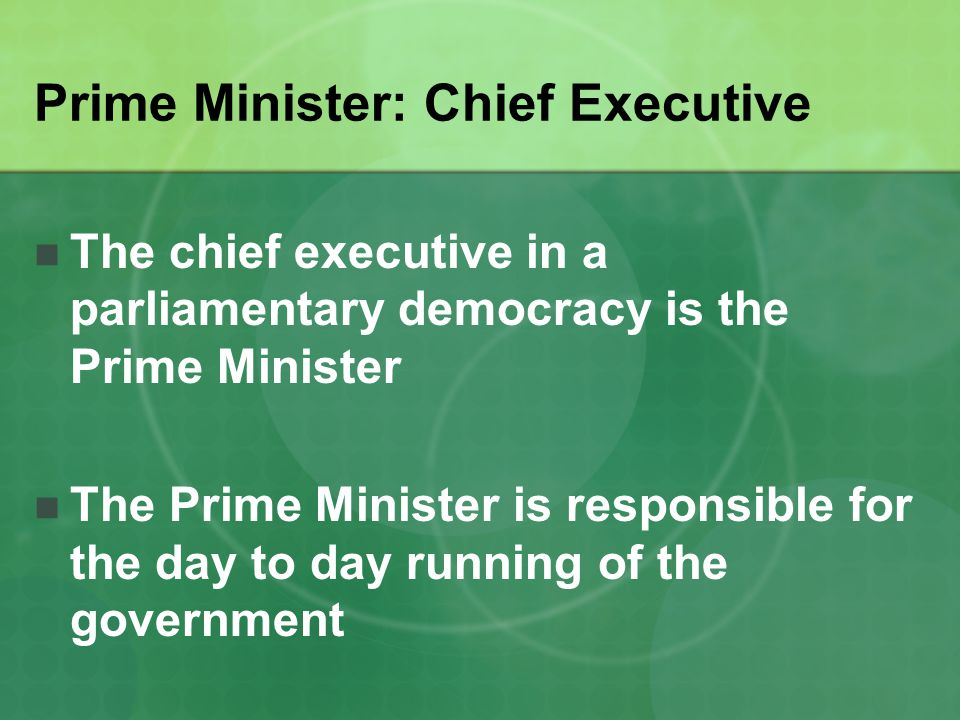 Prime Minister: Chief Executive