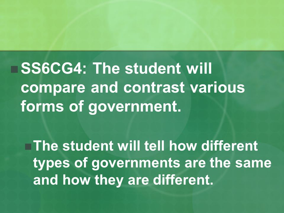 SS6CG4: The student will compare and contrast various forms of government.