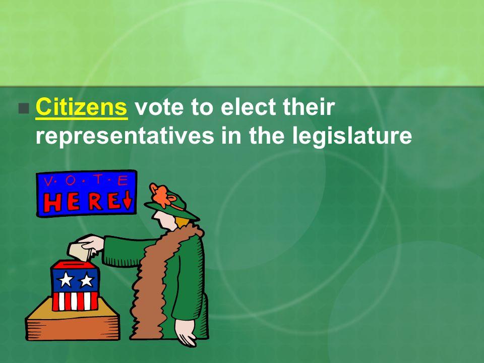 Citizens vote to elect their representatives in the legislature