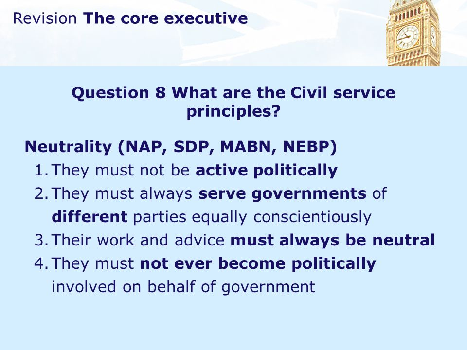 Question 8 What are the Civil service principles