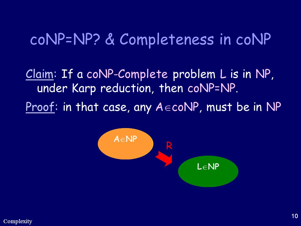 coNP=NP & Completeness in coNP