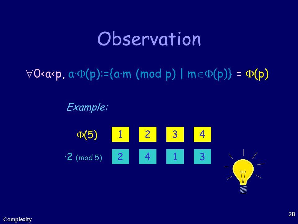 Observation 0<a<p, a·(p):={a·m (mod p) | m(p)} = (p)