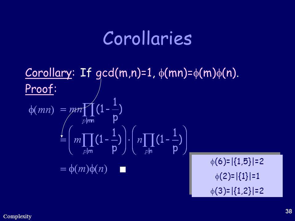 Corollaries Corollary: If gcd(m,n)=1, (mn)=(m)(n). Proof: 