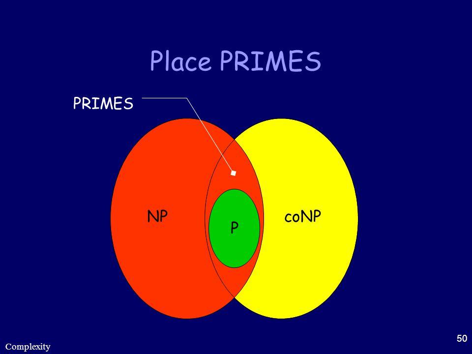 Place PRIMES PRIMES P NP coNP Complexity