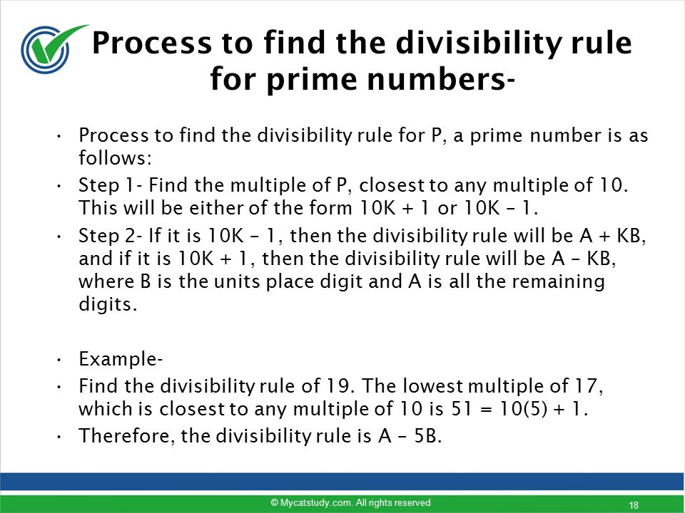 Process to find the divisibility rule for prime numbers-
