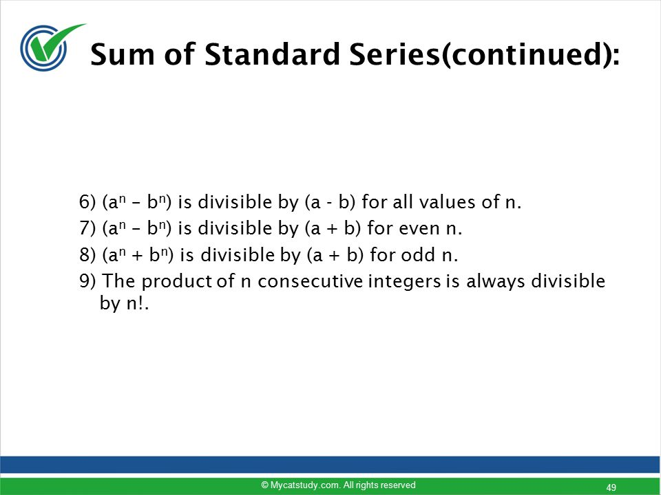 Sum of Standard Series(continued):
