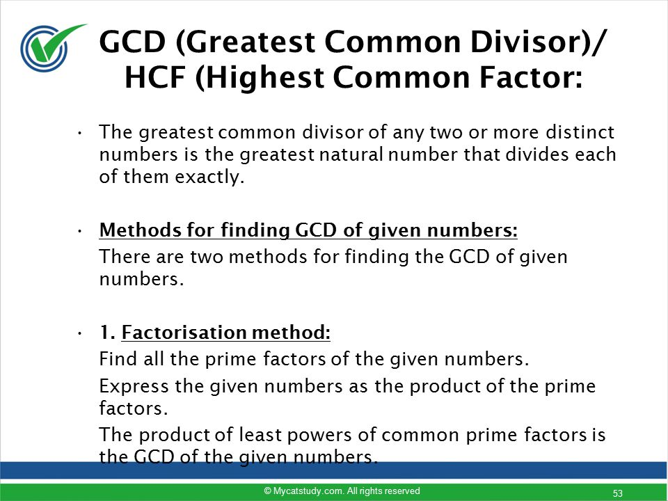 lcm hcf gcd basic concept calculation Calculate the gcf, gcd or hcf and see work with steps the greatest common factor of two or more whole numbers is the largest whole number that lcm wikipedia.