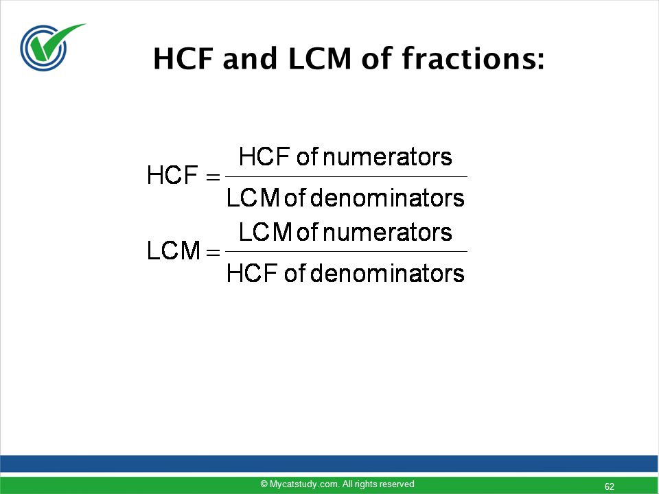 HCF and LCM of fractions: