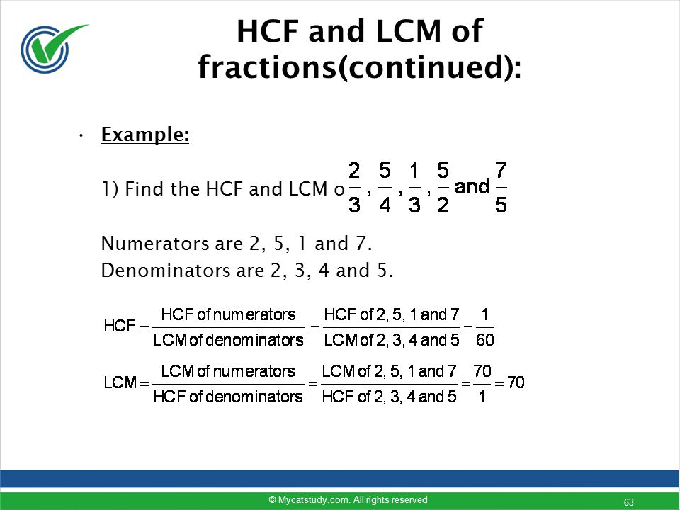 HCF and LCM of fractions(continued):