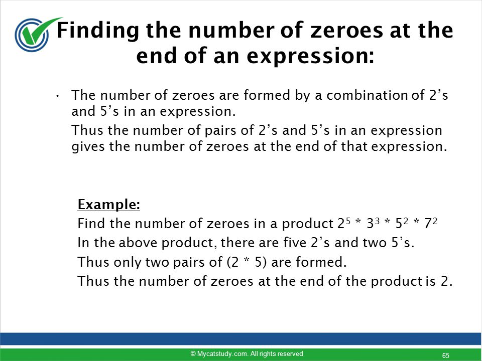 Finding the number of zeroes at the end of an expression: