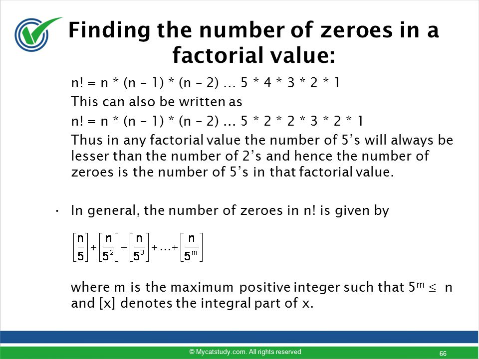 Finding the number of zeroes in a factorial value: