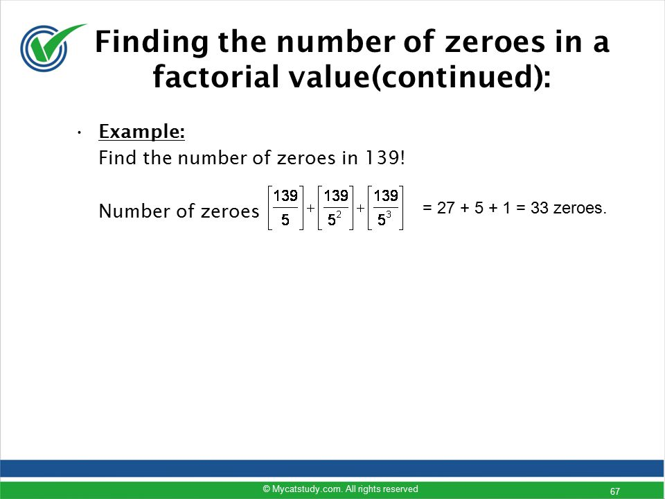 Finding the number of zeroes in a factorial value(continued):